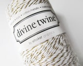 Gold Metallic & Bright White Bakers Twine - Divine Twine - Crafting - Invitation Wrapping String - Scrapbooking Supply - Full Spool 200 Yard
