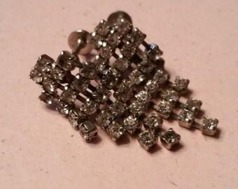 Vintage Dangling Silver Tone Clear Rhinestones Earrings Faceted Screw Back Bride Bridal Something Old