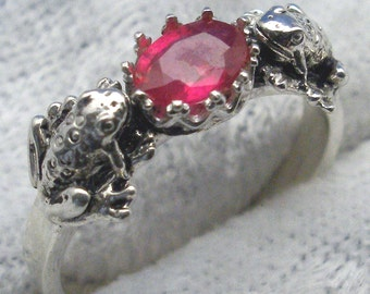 Natural Ruby Frog Ring, Hand Crafted Recycled Sterling Silver, July birthstone, handmade