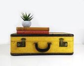 Shabby Hardside Suitcase Leather Trimmed / Vintage Luggage