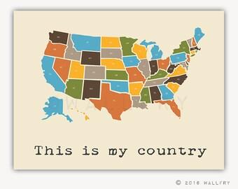 USA Map. Nursery decor us map for kids. Playroom decor world maps nursery art print. Modern map print USA nursery print by WallFry