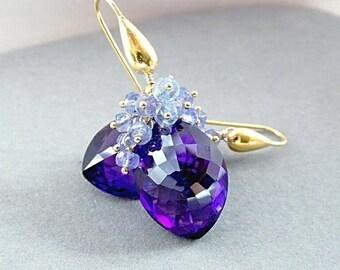 ANNIVERSARY SALE African Amethyst Tanzanite Gemstone Cluster Earrings  24k Gold Vermeil Long Hook Ear Wires February Birthstone Gift for Her