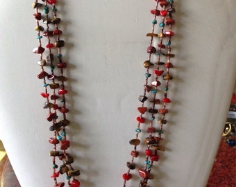 28 inches long 3 strand nugget necklace