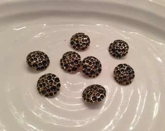 All the same button - 8 vintage gold metal shank buttons