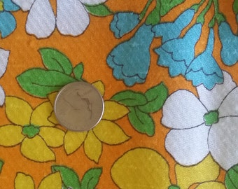 Vintage 60s Textured Floral Orange Cotton Fabric 2 Yds x 45 Bluebells