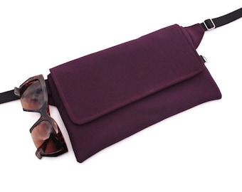 Customizable Bum Bag,Purple Waist Pouch,Custom Waist Bag,Simple FannyPack,Biker Hip Bag,Utility Belt,Festival BumBag,Flat Fanny Pack,Tasche