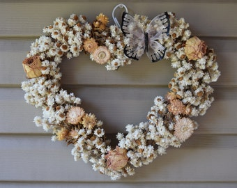 Heart Dried Floral Wreath With Butterfly