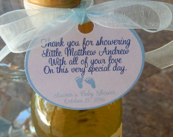 """50 Baby Shower Custom 2"""" Favor Tags - For Mini Wine and Champagne Bottles - Shower Favors - Baby Feet - Thank You Gift Favor Tags"""