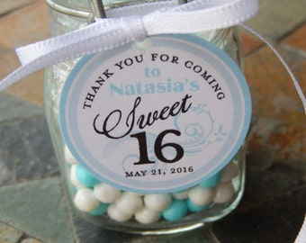 "Sweet 16 Birthday Favor Tags - For Cake Pops - Lollipops - Cookies - Assorted Party Favors - (30) 1.5"" Printed Circle Thank You Tags"