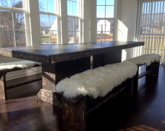 9 foot reclaimed farm table / 9 salvaged wood table and 4 benches