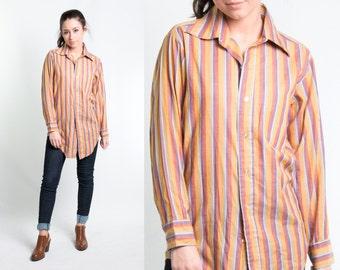 Vintage 1970s Striped Boyfriend Buttondown Shirt * Preppy Boyfriend Purple Gold Rose Teal Stripes Blouse * Size XS Small * FREE SHIPPING