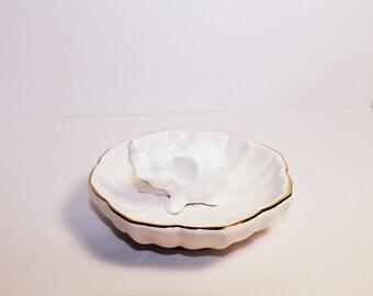 Elephant ring holder, white elephant ring holder, elephant ring dish white lotus dish with golden rim, miniature elephant, elephant figurine