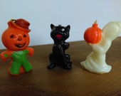 Vintage Gurley Halloween Candles Ghost, Black Cat & Jack-O-Lantern Pumpkin Man