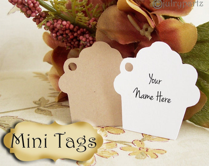 30 MINI TAGS #6 • 1.5 X 1.5 inch•Necklace Tags•Bracelet Tags•Price Tags•Clothing Tags•Favor Tags•Cupcake