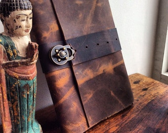 Custom leather notebook journals, Handmade refillable honey brown notebook cover personalized gift with antique lock,  handmade leather
