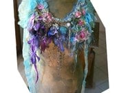 Unique Beautiful Large Silk Necklace With Roses and Orchids  JUST MARIE ANTOINETTE  Fairy Silks Silk Velvet Antique Details Boho Tattered