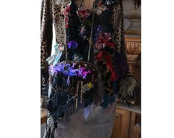 Unique Art To Wear Velvet Beaded Purse TWENTIES PURPLE Fairy Antoinette Gipsy Boho Forest
