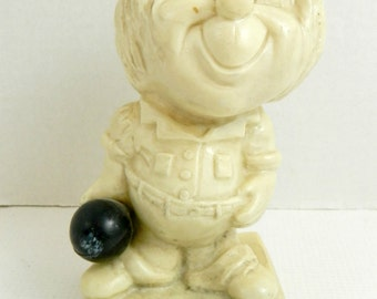 Vintage 1960's Statue Old Bowlers Never Die They Don't Score as Much Mid Century Modern