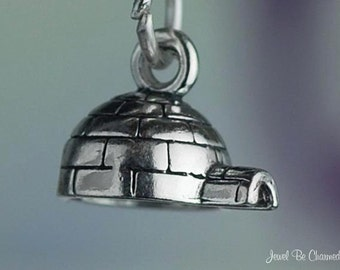 Sterling Silver Igloo Charm Snowhouse Arctic Eskimo Tiny 3D Solid .925