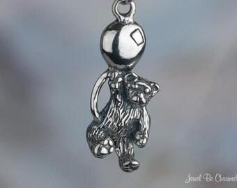 Cute Teddy Bear Charm Sterling Silver Teddies with Balloon Solid .925