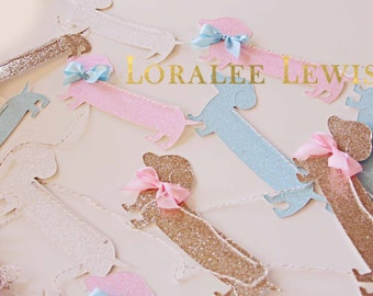 Paris, Passports and Puppies Glitter Dachshund Garland by Loralee Lewis