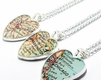Personalized Heart Vintage Map Necklace. You Pick City, State, or Country. Anywhere In The World. One Necklace. Custom Map Pendant Jewelry.