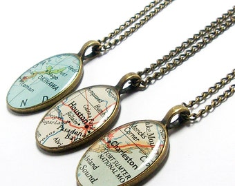 CUSTOM Vintage Map Oval Necklace. You Select Location Worldwide. One Necklace. Map Pendant. Map Jewelry. Personalized. Travel Gifts For Her