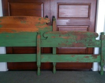 Vintage Distressed Twin Bed/Rustic Twin Bed/Milk Painted Chippy Painted Bed
