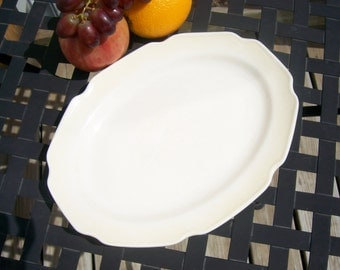 Platter ceramic oval plate, off-white, to serve appetizers meat cheese fruit bread veggies crackers cookies candy, vintage hostess gift idea