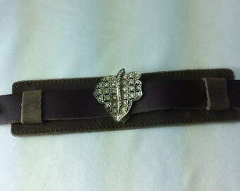 Distressed Leather Vintage Rhinestone Bracelet