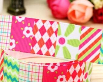 Lot 3 yards Grosgrain Ribbon, Retro  Pattern Flower Checkers Stripesi,Printed Ribbon,Hairbow ribbon,Sewing Ribbon, Scrapbook