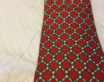 Vintage GUY LAROCHE Tie Paris USA Silk Tie Red Cream Blue