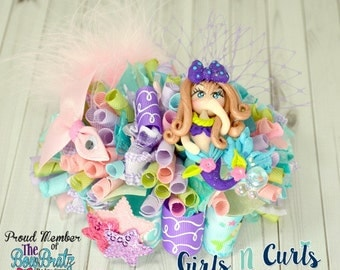 Ready To Ship Mermaid Funky Loopy Boutique Bow