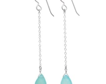 Seafoam chalcedony long chain drop earrings
