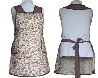 Women's Apron, Plus Size Apron - Brown and Cream Toile and Polka dots - Size 4X Only