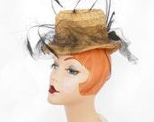 1930s Steampunk hat, vintage straw tilt, black feathers, New York Creation