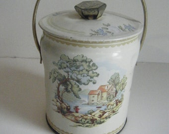 Murray-Allen Pastoral Imported Quality Confections biscuit cookie Candy  tin with handle bucket style