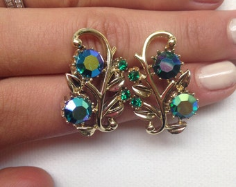 Sparkling Crystal Rhinestone Ivy and Floral Cluster Earrings - Ivy