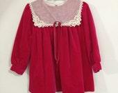 Vintage 80s Little Girls Dress / Fuchsia Hot Pink Velvet Long Sleeve Dress w/ Bib Collar / Size 1