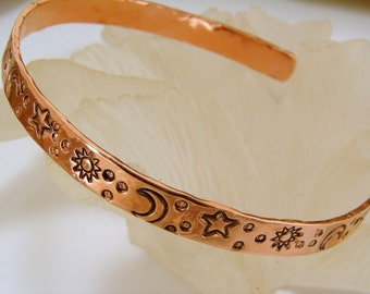 Copper Bracelet with Hand Stamped Sun Moon and Stars