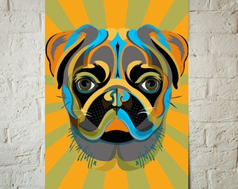 PUG, Dog, Art Print, Pop Art, Pet Decor, Poster sized Dog Decor, Dog Nursery decor, Pet Portrait, Gift for Pet Lover, Gift under 25