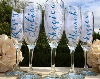5 Personalized bridesmaid champagne glasses, personalized bridesmaid glasses, bridesmaid champagne flutes, bridesmaid proposal