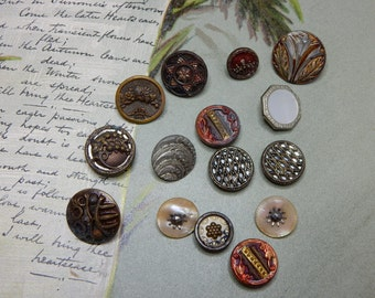 15 Victorian Miniature Metal Picture Buttons Lot 1