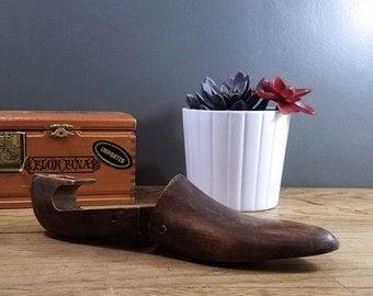 Vintage Wooden Shoe Form, Antique Shoe Mold; Industrial Rustic Decor