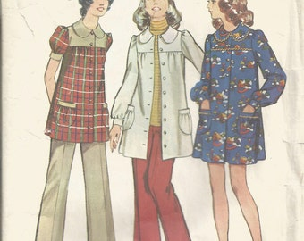 Simplicity Pattern 5368 Size 14 Bust 36 Maternity Smock Dress and Pants 1970's