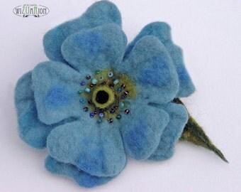 Blue felt flower brooch hand felted felt wool