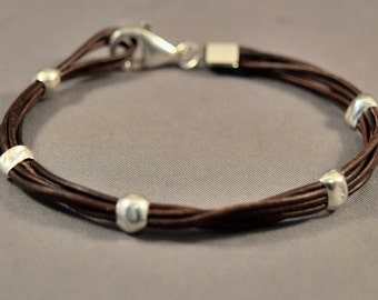 Leather Bracelet-Women Bracelet-Friendship Bracelet-Brown Bracelet-Men Bracelet-Charm Bracelet-Beaded Bracelet-Gifts-Sterling Silver