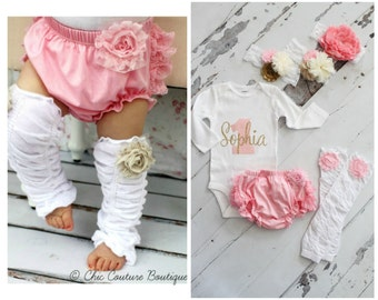 Baby Girl 1st Birthday Outfit Cake Smash Set up to 4 Items 1 & Personalized Name Bodysuit, Lace Bloomers Diaper Cover, Leg Warmers, Headband