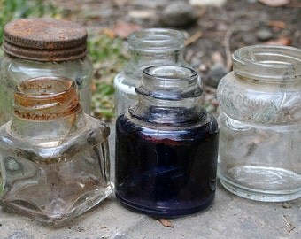 Instant Collection of 5 Five Dug Antique Vintage Glass Ink Bottles Inkwells Curiosities Altered Art Supplies Collectables