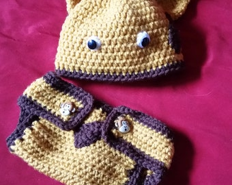 Giraffe Hat and Diaper Cover